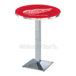 Holland Bar Stool - Holland Bar Stool L217 - Chrome Detroit Red Wings Pub Table - L217 - Chrome Detroit Red Wings Pub Table  belongs to NHL Collection by Holland Bar Stool Made for the ultimate sports fan, impress your buddies with this knockout from Holland Bar Stool. This L217 Detroit Red Wings table with square base provides a commercial quality piece to for your Man Cave. You can't find a higher quality logo table on the market. The plating grade steel used to build the frame ensures it will withstand the abuse of the rowdiest of friends for years to come. The structure is triple chrome plated to ensure a rich, sleek, long lasting finish. If you're finishing your bar or game room, do it right with a table from Holland Bar Stool.  Pub Table (1)