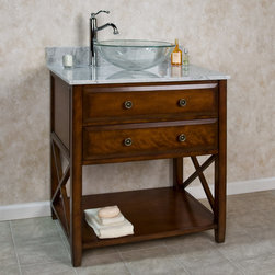 "30"" Clinton Vessel Sink Vanity - Designed for holding a vessel sink, this 30"" vanity is made of solid hardwood and features a granite or marble countertop and with a 2"" cutout."