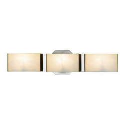 """Eurofase - Eurofase BR-3DAK-2N Dakota 3-Light Bathbar, Satin Nickel/White - The perfect vanity accent, the Dakota line is a masterfully crafted design. A tranquil frosted glass is held in place gently with slim chrome clips. A triangulated backdropraises the shade slightly to allow light to spill serenely into any setting. Although style and design are central to the company's philosophy Eurofase goes to great lengths to ensure product quality and customer satisfaction. The Eurofase Quality Control team oversees the mechanical and electrical integrity of every Eurofase product. A stringent process is implemented to ensure that all crucial elements meet the high quality standards expected by Eurofase, such as safety approvals, longevity testing, packaging and instructions.Metal finish: Satin NickelWhite ShadeActual fixture dimension: 20"""" x 2.75"""" x 4.75""""Uses 3x35Watt G9 bulb. Bulb Included"""
