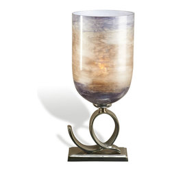 Interlude Home - Minori Hurricane - Make way for curves and color! Not your typical clear glass hurricane, this large hurricane candle holder starts with a shiny curlicue aluminum base in a shiny silver finish. Lofted with a decorative lavender globe, it's ready to add some light and luster to your favorite modern spaces.