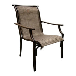 Hospitality Rattan - Chub Cay Patio Sling Arm Chair in Dark Bronze - A Chub Cay armchair with sling styling is the perfect accompaniment around matching dining tables or in patio accent groupings. Anodized aluminum framing is rust free with a bronze finish that complements the inset one-piece sling in all-weather woven mesh. Made of Extruded Aluminum Frame will not rust w Twitchel fiber. Finished in a powder coated Dark Bronze finish. Extruded Aluminum Frame w Twitchel fiber. Weather and UV resistant. Frame will not rust. Fully assembled arm chair with cushions. Stackable Design. Overall: 32 in. L x 23 in. W x 37 in. H (11 lbs.)This traditional Chub Cay collection incorporates a tubular extruded aluminum frame resembling bamboo that will not rust. A custom made Twitchel Sling fiber is used in place of cushions on the seating pieces. The Chub Cay arm chairs are not only very durable, but are also stackable for easy storage. The dining table tops are tempered glass and will accommodate an umbrella. The collection also features a special aluminum slatted top on the coffee table, and the end table which work for both the Chub Cay collection and the Coco Palm Outdoor Group.