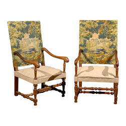 Consigned Pair of Chairs - Decorate your dining table with this pair of French walnut chairs with tapestry backs. You'll feel like a king surveying his guests from the elegance of another time. Make sure you speak French, though.