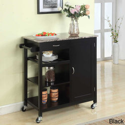 K and B Furniture Co Inc - Wooden 3-shelf Kitchen Cart - Add storage and counter space to your kitchen with this convenient and classy cart,in your choice of black or white. Three exterior shelves,a paper towel rack and more makes this the perfect way to free up your cooking area.