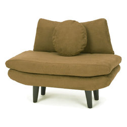 Boom - Modern Chair, Chocolate - Finally, a sleek design that combines style and comfort. This modern chair features soft cushions and simple lines so you don't have to sacrifice function for form. This chair would be perfectly at home in most any room.