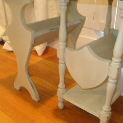 Custom Rustic Furniture - An adorable eclectic pair of rustic distressed end table with shelving in French Country White. Skillfully refinished to show the beautiful wood grain on the table tops. $100 for the pair.
