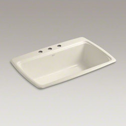 """KOHLER - KOHLER Cape Dory(R) 33"""" x 22"""" x 9-5/8"""" top-mount single-bowl kitchen sink with 3 - The Cape Dory sink is a kitchen classic, with its generous single bowl that simplifies the task of washing large pots and pans. Crafted from enameled cast iron, this sink resists chipping, cracking, or burning for years of beauty and reliable performance."""