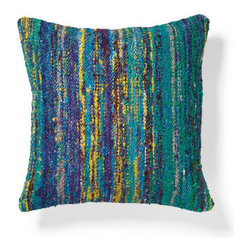 Grandin Road - Sari Throw Pillow - Square throw pillow hand woven from recycled yarn. Natural cotton backing. 94% rayon and 6% cotton construction. Polyfill insert included. Hidden zipper. Dress up your sofa, loveseat or armchair with the distinctive colors and texture of the Sari Throw Pillow. Each is a beautiful, handmade composition, created from soft, recycled yarn that's hand woven in a multi-hued, banded design, which means that every pillow is completely unique. Curate your own collection, and toss in the coordinating Sari Lumbar Pillow.  .  .  .  .  . Dry clean . Expect a variation in color; no two pillows are exactly identical . Each sold separately . Pillow inserts are vacuum packed to minimize shipping costs – simply fluff to restore shape . Imported.