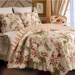 None - Butterflies Twin-size 2-piece Quilt Set - Butterflies and flowers adorn this floral print twin-size quilt that is made from whole cloth with coordinating stripe on reverse with tiny vermicelli stitches. It features 100 percent cotton cover and fill,is oversized,and includes a matching sham.