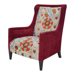 Kathy Kuo Home - Red Floral Suzani High Back Global Bazaar Arm Chair - Why simply sit when you can reign in this majestic — and marvelously bold — chair? An arresting mix of rich red velvet and lively floral fabric, this is one striking seat.