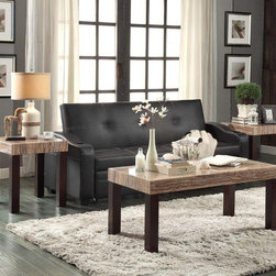 Homelegance - Homelegance Robins 3 Piece Faux Marble Top Coffee Table Set in Dark Cherry - Faux marble tabletops perch on wooden legs in the design of the Robins Collection. The warm hue of the dark cherry legs creates a stark contrast to the cool tones of the marble look. With clean lines and bold design  this table offering will be at home in a number of casual transitional and contemporary homes.