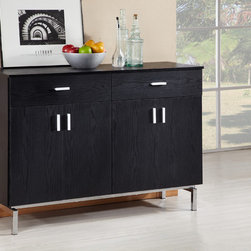 Furniture of America - Furniture of America Mason Black Finish Buffet/ Dining Server - This modern dining server has everything you want and need in a server. There are four cabinets and two drawers for ample storage space. The doors feature stylish handles and legs, and it will add a contemporary look to any living or dining room.