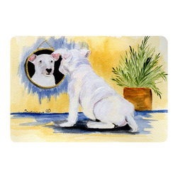 Caroline's Treasures - Bull Terrier Kitchen or Bath Mat 24 x 36 - Kitchen or Bath Comfort Floor Mat This mat is 24 inch by 36 inch. Comfort Mat / Carpet / Rug that is Made and Printed in the USA. A foam cushion is attached to the bottom of the mat for comfort when standing. The mat has been permanently dyed for moderate traffic. Durable and fade resistant. The back of the mat is rubber backed to keep the mat from slipping on a smooth floor. Use pressure and water from garden hose or power washer to clean the mat. Vacuuming only with the hard wood floor setting, as to not pull up the knap of the felt. Avoid soap or cleaner that produces suds when cleaning. It will be difficult to get the suds out of the mat.