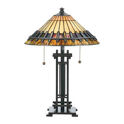 Quoizel Lighting - Quoizel TF489T Chastain Tiffany Bronze Patina Table Lamp - 2, 60W A19 Medium