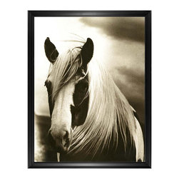 Kathy Kuo Home - Hyden Rustic Lodge Modern Mussed Horse Photo Wall Art - Framed - Gazing at you with soulful eyes, this windswept horse will shine on your wall. Because this black-and-white photo is both evocative and starkly beautiful, it would hang perfectly in any room in the house. This horse portrait is available framed or unframed.