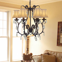 Regent - Versailles 6-light Wrought Iron Chandelier - Give any room a luxurious upgrade with this beautiful wrought iron chandelier from Versailles. Featuring six lights with silk shades, crystal accents, and a a black finish, this traditional light fixture will bathe your room in light and style.