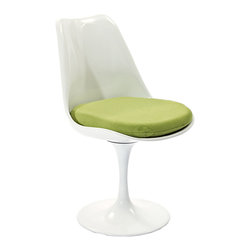 """IFN Modern - Tulip Style Chair-Green - Cashmere Wool - The Tulip chair was designed by Finnish-American designer Eero Saarinen in 1956. At the time, the Tulip Chair was renowned for its """"space-age"""" curves and use of materials. Frivolity and sophistication in one minimalist design. The Tulip range is perfect for a modern pad or to add eclecticism to a more traditional home.Available in multiple finishes and upholstery optionsConstructed of durable fiberglassBase is a cast aluminum"""