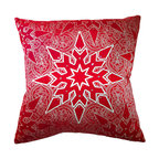 Frontgate - Elegant Star Christmas Throw Pillow Christmas Decor - Silk satin cover. Genuine Swarovski® crystal trim. Printed on one side; solid color back. Premium down fill encased in two layers of cotton. Hidden zipper. The elegant star pattern on front of this Elegant Star Throw Pillow is eastern European inspired and indulgent to the touch. A scattering of Swarovski crystals twinkles on the luxurious silk satin cover. Soft down fill makes it a treat to lounge against.. Genuine Swarovski crystal trim. . . . Dry clean. Assembled in the USA.