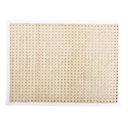 "Juliska - Juliska Rectangular Caning Mat Natural - Juliska Rectangular Caning Mat NaturalAdd dimension to your table settings with textural elements like natural cane placemat. Trimmed with white twill, this 14x19"" mat is simultaneously sophisticated, tailored, and exotic. Simply wipe with a damp sponge for easy clean up after blissfully messy meals. Dimensions: 14"" L x 19"" W"
