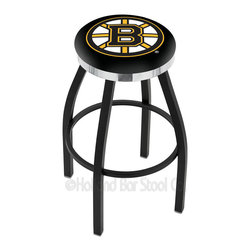 """Holland Bar Stool - Holland Bar Stool L8B2C - Black Wrinkle Boston Bruins Swivel Bar Stool - L8B2C - Black Wrinkle Boston Bruins Swivel Bar Stool w/ Chrome Accent Ring belongs to NHL Collection by Holland Bar Stool Made for the ultimate sports fan, impress your buddies with this knockout from Holland Bar Stool. This contemporary L8B2C logo stool has a single-ring black wrinkle base with a 2.5"""" cushion and a chrome accent ring that helps the seat to """"pop-out"""" at glance. Holland Bar Stool uses a detailed screen print process that applies specially formulated epoxy-vinyl ink in numerous stages to produce a sharp, crisp, clear image of your desired logo. You can't find a higher quality logo stool on the market. The plating grade steel used to build the frame is commercial quality, so it will withstand the abuse of the rowdiest of friends for years to come. The structure is powder-coated to ensure a rich, sleek, long lasting finish. Construction of this framework is built tough, utilizing solid mig welds. If you're going to finish your bar or game room, do it right- with a Holland Bar Stool. Barstool (1)"""