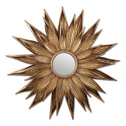 Sunflower Antiqued Gold Wall Mirror - A fun play on the traditional sunburst mirror, this Sunflower mirror doubles as a sculpture! I'd love to see it hung above a fireplace or tufted headboard.