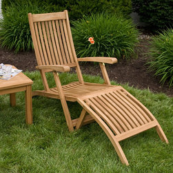 Holley Teak Folding Steamer Lounge Chair - Lounge poolside in comfort and style with this Holley Teak Folding Steamer Lounge Chair. Add a lovely teak wood side table, sold separately, for a custom seating area.
