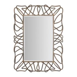 """Uttermost - Uttermost Halsey Gold Metal Mirror X-87821 - The Decorative Frame Is Made Of Hand Forged Metal With A Heavily Antiqued, Gold Plated Finish And Light Gray Accents. Mirror Features A Generous 1 1/4"""" Bevel. May Be Hung Horizontal Or Vertical."""