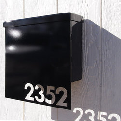 Custom House Number Mailbox No. 1310 by Moda Industria - The old-fashioned post mailbox gets a modern update here with sleek lines and glossy black paint. Attaching your house numbers right to the it will make them easy to locate and add graphic punch.