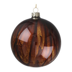 "Tiger Brown Ornament Ball - 4"" - This Tiger Brown Ornament Ball has a beautiful finish. The shimmering finish will catch the light perfectly, making your Western Christmas tree even more stunning!"