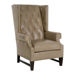 CR Laine - Gavin Leather Chair - With an air of sophistication, the Gavin chair brings classic design to new heights. Accentuated by an extra tall back, classic tufts and customizable nailhead detailing, this seat expresses dignified style with a traditional edge. Shown in Basano Putty; Available in a variety of fabric and finish options; Customizable nailhead trim; Diamond stitched detailing is made from one piece of fabric which may affect choices; Hand crafted in the USA using sustainable materials; Kiln-dried frames made from responsibly harvested hardwood; Water-based wood adhesive with no VOC emissions; Seat deck and trim pad made from 80% regenerated fibers; Cushion cores made from at least 10% natural plant-based ingredients