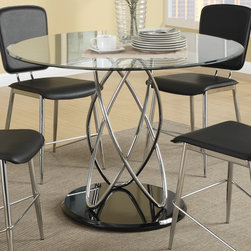 Coaster - Ciccone Dining Table, Chrome/Glossy Black - Add a contemporary touch to your dining space with this funky five piece dining set. Crafted with a metal atom-like shaped base in a cool chrome finish, the table adds an impressive visual element with its presence. The glass table top features five times stronger tempered glass, ensuring durability for a long lasting dining piece. Matching chairs are comfortable and attractive, and seats are upholstered in black vinyl for additional style.