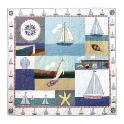 Patch Quilts - Nautical King Quilt - -Constructed of 100% Cotton  -Machine washable; gentle dry  -Made in India Patch Quilts - QKNAUT