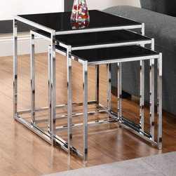 Dorel Home Products - Kale 3 Pc Glass Nesting Tables Set - Sleek and modern table. Tempered black glass top. Handy for wherever surface space is needed. Sturdy chrome leg base. Warranty: One year. Large table: 20.1 in. W x 18 in. D x 22 in. H. Assembly InstructionsTheir simple design will complement your contemporary living space.