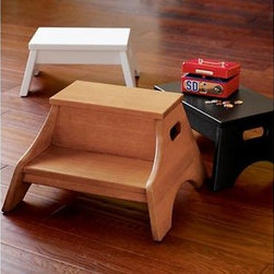 Kids Two Step Wooden Step Stool - Empower your child to reach things on their own with these cute step stools. They will look great in a kitchen or bathroom or playroom, and will seriously change your own life. Believe me.