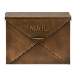 Tauba Copper Finish Mail Box - Old fashioned, antique look, mail box with hinged lid resembles the look of an envelope