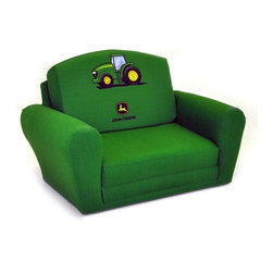 Kidz World - Kidz World John Deere Green Boy's Sleepover Sofa Chair - 1850-1-JDG - Shop for Childrens Sofas from Hayneedle.com! Perfect for naps or guests the Kidz World John Deere Green Boy's Sleepover Sofa Chair provides comfy seating and a quick convenient bed. This sturdy piece of children's furniture has a mixed hardwood frame covered with polyurethane foam padding to provide maximum comfort. The upholstery is 100% cotton and cushion glides on the bottom of each piece protect the fabric from tearing. Quickly convert this seat into a sleeper by removing the backrest - perfect for sleepovers or a quick nap. In its folded position this kid's sofa has a stylish curved back and armrests making it a great addition to your child's room -- or even the family room. About Kidz WorldA.D. Blount Linda Blount Alison Nichols Justin Nichols and Dwight Griffin established Kidz World furniture in March of 2009 after looking at the children's furniture market and deciding that better quality and more fabric choices were needed. They decided to manufacture children's furniture that was more like adult furniture in terms of hardwood frames foam filling and other high-quality components. By providing this quality and offering the resulting furniture in a variety of fabrics including licensed fabrics such as Mossy Oak National Football League Collegiate Sports and Major League Baseball Kidz World has quickly established themselves as the leading manufacturer of children's furniture.