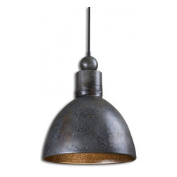 "Uttermost - Adelino 1 Light Hand Forged Metal Pendant - Hand Forged Metal Finished In A Rust Silver. 60 Watt Antique Style Bulb Included. Dimensions: 16.5""H X 13.75"" Diameter; Lights: 1; Finish: Rust Silver; Bulbs: Uses Up To 100 Watt Bulbs (Not Included); Light Covers: Hand Forged Metal; 60 Watt Antique Style Bulb Included.; Weight: 10 lbs; UL Approved"