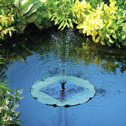 """Solar Floating Lily Fountain - This lily fountain sits in the middle of an existing pond and is an unassuming way to create an original water feature. The water will shoot 17"""" into the air and help to circulate the water in the pod which helps oxygenate the water and keep it cleaner."""
