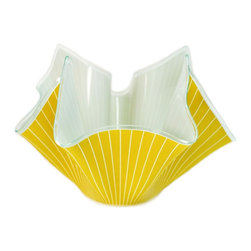 None visible - Consigned Yellow Handkerchief Glass Bowl, Vintage English, circa 1960 - A very attractive glass bowl hand worked to resemble a folded handkerchief, with yellow stripe painted decoration, vintage English, circa 1960.This is a vintage One of a Kind item. Some wear and imperfections are to be expected, as described.