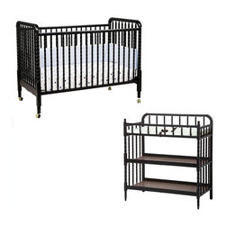 Da Vinci - DaVinci Jenny Lind 3-in-1 Stationary Convertible Wood Crib Nursery Set in Ebony - Da Vinci - Baby Crib Sets - M7391EM0302EPpkg - DaVinci Jenny Lind 3-in-1 Stationary Convertible Wood Crib Nursery Set in Ebony