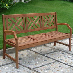 Cross Weave Eucalyptus Bench - Natural - This beautiful, natural hardwood bench features a cross weave design with shapely arm rests. Made of weather resistant eucalyptus grandis wood, harvested from protected forests in Brazil.