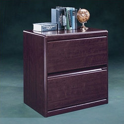 """Sauder - Cornerstone Lateral File Cabinet in Classic Cherry - The Cornerstone Collection provides a solid foundation for any home or office setting. Precisely rounded corners and edges lend a feeling of contemporary comfort to the working environment. Features: -Lateral file cabinet. -Cornerstone collection. -Classic cherry finish. -Drawer with full extension slides hold letter, legal or European size hanging files. -Safety interlock drawer system prevents drawers from being open together. -Assembly required. -Manufacturer provides 5 year warranty. -Overall dimensions: 30.5"""" H x 30.87"""" W x 19.5"""" D."""