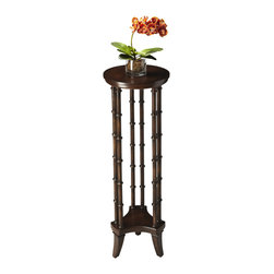 Butler Specialty - Butler Pedestal - From the intriguing feet - to the concave curves of the base - to the six bamboo-inspired legs rising to the tapered tabletop, this pedestal exudes style. Crafted from rubber wood, cherry veneer and fiberboard in the rich espresso finish.