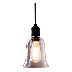 ParrotUncle - Rustic Style Bell-shape Pendant Light with Glass Shade - Let your mind go back to the past to taste the nature of life with this rustic style pendant light. It features a clear glass shade, and a traditional black holder. Its simple but elegant design makes it so special in today's popular styles. Best choice for you who is in pursuit for the original intention of the making of lights.