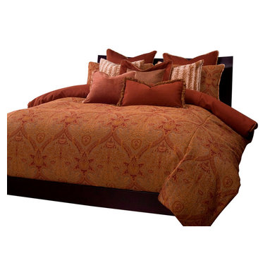 SIS Covers - SIS Covers Cambridge Duvet Set - 6 Piece Queen Duvet Set - 5 Piece Twin Duvet Set Duvet 67x88, 1 Std Sham 26x20, 1 16x16 dec pillow, 1 26x14 dec pillow. 6 Piece Full Duvet Set Duvet 86x88, 2 Std Shams 26x20, 1 16x16 dec pillow, 1 26x14 dec pillow. 6 Piece Queen Duvet Set Duvet 94x98, 2 Qn Shams 30x20, 1 16x16 dec pillow, 1 26x14 dec pillow. 6 Piece California King Duvet Set Duvet 104x100, 2 King Shams 36x20, 1 16x16 dec pillow, 1 26x14 dec pillow6 Piece King Duvet Set Duvet 104x98, 2 Kg Shams 36x20, 1 16x16 dec pillow, 1 26x14 dec pillow. Fabric Content 1 55 rayon 45 Polyester. Guarantee Workmanship and materials for the life of the product. SIScovers cannot be responsible for normal fabric wear, sun damage, or damage caused by misuse. Care instructions Machine Wash. Features Reversible Duvet and Shams.