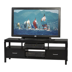 Linon - Linon Sutton Flat Panel/Plasma/LCD TV Stand in Black Finish - Linon - TV Stands - 84026BLK01KDU - The Sutton Plasma TV Stand combines media storage with functional style. It features a profiled top plenty of room for components and drawers. The clean simple lines of this TV stand are enhanced by a rich dark finish. Sleek metal hardware complete the contemporary look.