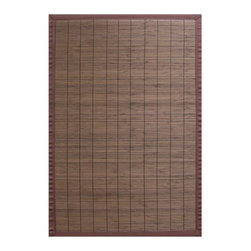 """Anji Mountain - Bamboo Rugs Villager Coffee Rug - Bamboo rugs have been a traditional floor covering in the Far East for centuries. They add a touch of organic, practical elegance to any space. Our bamboo rugs are made of the finest quality, sustainably harvested bamboo in the world and offer supreme durability. Features: -100% Moso bamboo harvested in its native habitat in the Anji Mountains of China.-Mitered polypropylene borders provide resilience and clean design.-Eco-friendly, non-skid rug pad backing is ventilated and provides excellent cushioning while extending the life of your rug.-Spot clean with a damp cloth and water; recommended for indoor use.-Natural fading will occur in direct sunlight.-Kiln-dried bamboo is machine-planed and sanded for a smooth finish.-Varied, narrow bamboo slats in brown with a brown border; Accent stitching across the slats matches the bamboo color.-Distressed: No.-Collection: Bamboo Rugs.-Construction: Machine woven.-Technique: Machine woven.-Primary Pattern: Solid.-Primary Color: Dark brown.-Border Material: Polypropylene.-Border Color: Brown.-Type of Backing: Eco-soy non-slip rug pad.-Material: 100% Bamboo.-Fringe: No.-Reversible: No.-Water Repellent: No.-Mildew Resistant: No.-Stain Resistant: No.-Fade Resistant: No.-Swatch Available: No.-Eco-Friendly: Yes.-Outdoor Use: No.-Product Care: Clean surface with a damp, clean cloth. Spot-clean borders with mild dish soap and water solution. Plastic or felt casters are recommended for chair or furniture legs to protect against scratching and cracking of bamboo slats..Specifications: -CRI certified: No.-Goodweave certified: No.Dimensions: -Pile Height: 0.2"""".-Overall Product Weight (Rug Size: 2' x 3'): 2 lbs.-Overall Product Weight (Rug Size: 4' x 6'): 6 lbs.-Overall Product Weight (Rug Size: 5' x 8'): 10 lbs.-Overall Product Weight (Rug Size: 6' x 9'): 13 lbs."""