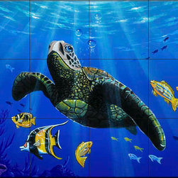 The Tile Mural Store (USA) - Tile Mural - Hawaiian Turtle - Kitchen Backsplash Ideas - This beautiful artwork by Jeff Wilkie has been digitally reproduced for tiles and depicts a Sea Turtle swimming through the ocean.  Our tiles with sea turtles are a great way to add something unique to your kitchen backsplash tile project. Make your tub and shower surround bathroom tile project exceptional with one of our decorative tile murals of sea turtles. Decorative tiles with turtles are beautiful and timeless and will never go out of style. Make a seaturtle tile mural part of your bathroom wall tile and enjoy this tile mural every day in your newly renovated bathroom.