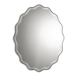 Uttermost - Teodora Antiqued Silver Oval Mirror - Mirror features a ruffled edge finished in antiqued silver with a generous 1 1/4 inch bevel.