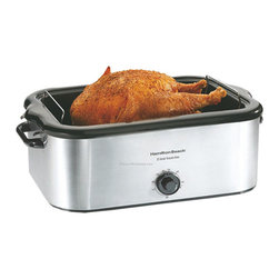 HAMILTON BEACH BRANDS, INC. - Hamilton Beach Stainless Steel 22 Quart Roaster Oven, 22 Quart - Hamilton Beach Stainless Steel Roaster Oven is handy for cooking at home or feeding larger groups of friends and family. This popular roaster oven bakes, roasts and cooks like traditional ovens, and you can use them to steam and slow-cook as well. It is simple to use and offers tremendous flexibility.
