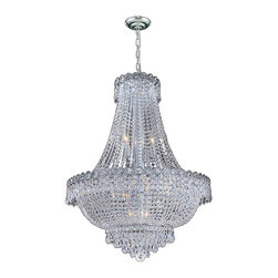 """Worldwide Lighting - Empire 12 Light Chrome Finish and Clear Crystal Chandelier 24"""" D x 32"""" H Large - This stunning 12-light chandelier only uses the best quality material and workmanship ensuring a beautiful heirloom quality piece. Featuring a radiant chrome finish and finely cut premium grade crystals with a lead content of 30%, this elegant chandelier will give any room sparkle and glamour. Worldwide Lighting Corporation is a privately owned manufacturer of high quality crystal chandeliers, pendants, surface mounts, sconces and custom decorative lighting products for the residential, hospitality and commercial building markets. Our high quality crystals meet all standards of perfection, possessing lead oxide of 30% that is above industry standards and can be seen in prestigious homes, hotels, restaurants, casinos, and churches across the country. Our mission is to enhance your lighting needs with exceptional quality fixtures at a reasonable price."""